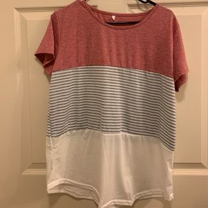 Pink with Grey and white stripes top